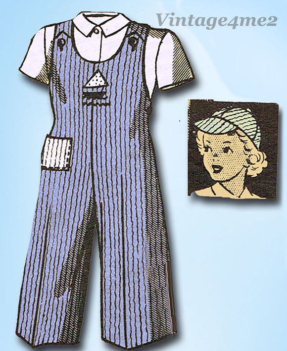 1940s Original Vintage Marian Martin Pattern 9391 Toddler Girls Overalls & Hat Sz 6