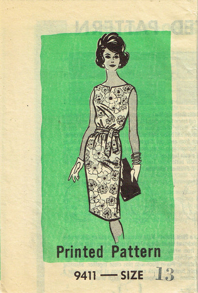 1960s Vintage Marian Martin Sewing Pattern 9411 Misses Sheath Dress Size 13 33B