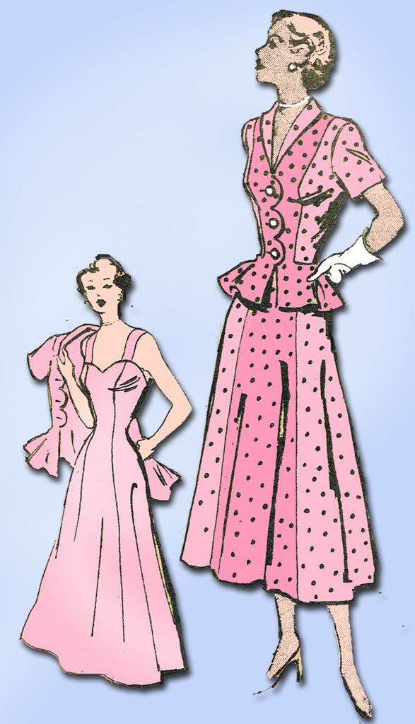 1940s Vintage Marian Martin Sewing Pattern 9491 Misses Sun Dress and Jacket 36 Bust
