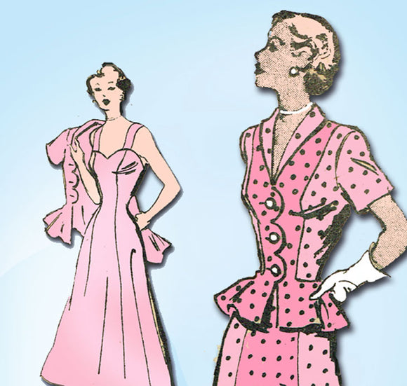 1940s Vintage Marian Martin Sewing Pattern 9491 Uncut Sun Dress & Jacket Sz 32B -Vintage4me2