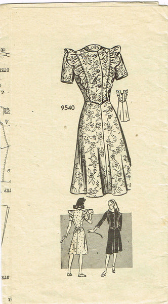 1940s Vintage Marian Martin Sewing Pattern 9540 Misses Flirty WWII Dress Sz 14 - Vintage4me2