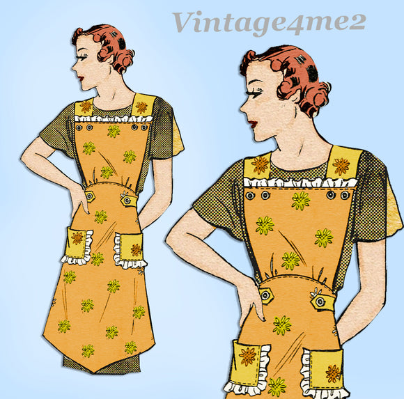 Marian Martin 9988: 1930s Misses Farm Kitchen Apron MED Vintage Sewing Pattern