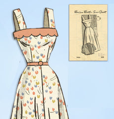 1940s Vintage Marian Martin Sewing Pattern 9026 Misses Sun Dress & Bolero Sz 30B