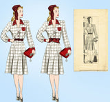 1930s Vintage Marian Martin Sewing Pattern 9807 Misses WWII Dress Size 34 Bust - Vintage4me2