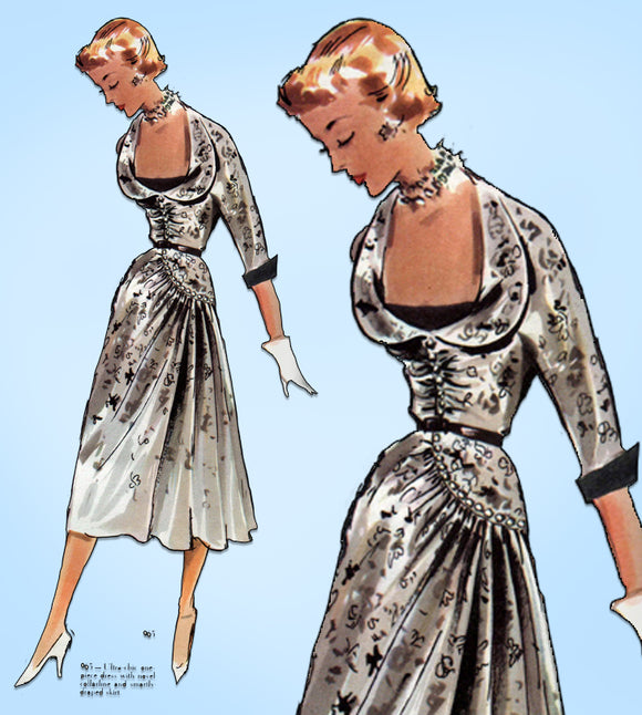 1950s Vintage Modes Royale Sewing Pattern 965 Misses Cocktail Dress Size 30 Bust
