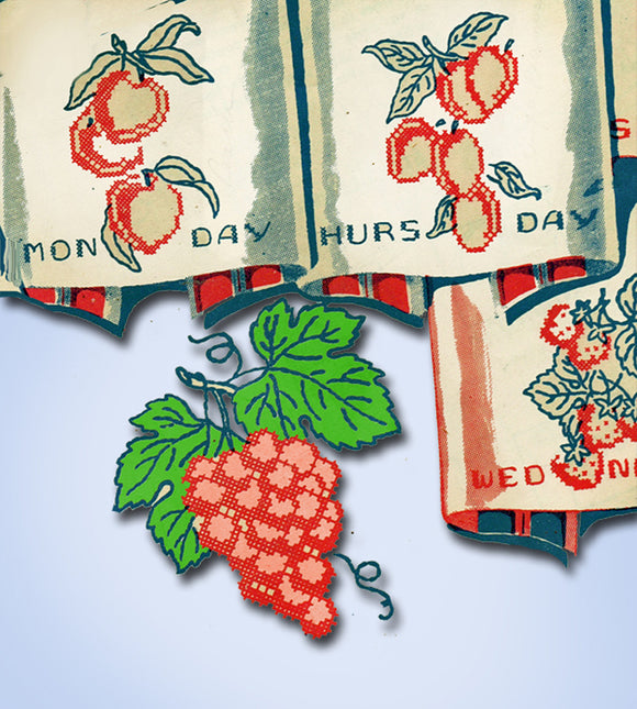 1930s Vintage Monarch Embroidery Transfer M233 Uncut X-Stitch Fruit Tea Towels