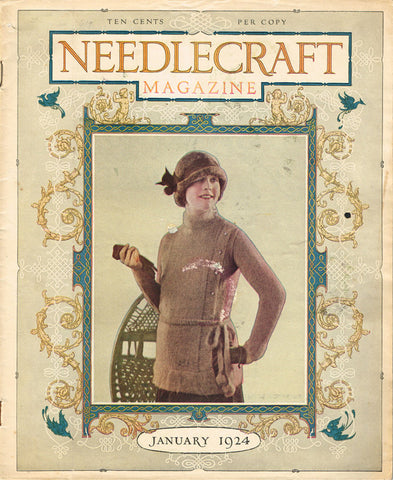 1920s Vintage Needlecraft Magazine January 1924 34 Pages Antique Craft Projects