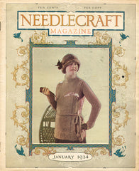 1920s Vintage Needlecraft Magazine January 1924 34 Pages Antique Craft Projects - Vintage4me2