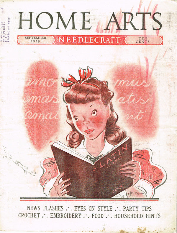 1930s Vintage Needlecraft Home Arts Magazine September 1939 18 pgs Craft Project - Vintage4me2