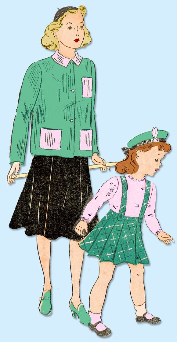 1940s Vintage New York Sewing Pattern 1004 Uncut Little Girls Skirt & Jacket 14