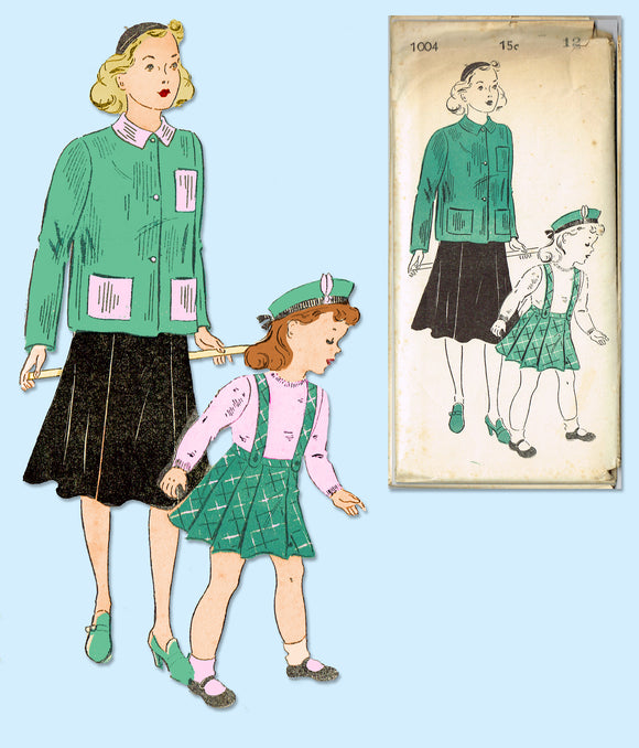 1940s Vintage New York Sewing Pattern 1004 Uncut Little Girls Skirt & Jacket 12