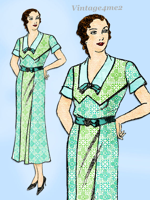 New York 102: 1930s Uncut Womens Plus Size Dress 42 Bust Vintage Sewing Pattern