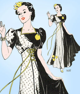 1930s Vintage New York Sewing Pattern 1037 Uncut Gorgeous Evening Gown Sz 34 B