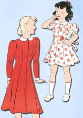 1940s Vintage New York Sewing Pattern 1047 Uncut WWII Girls Princess Dress Sz 12