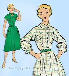 New York 1056: 1950s Uncut Misses Street Dress Sz 31 B Vintage Sewing Pattern