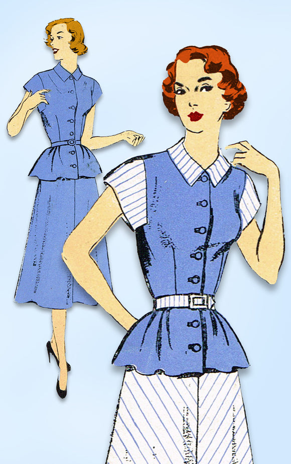 1950s Vintage New York Sewing Pattern 1059 Uncut Misses 2 Piece Dress Size 36 B - Vintage4me2
