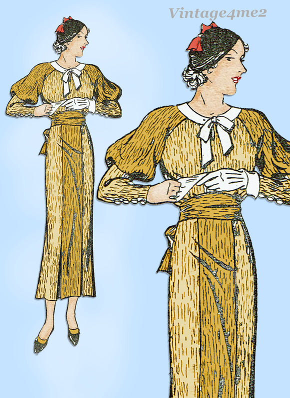 New York 1079: 1930s Uncut Misses Street Dress Sz 32 Bust Vintage Sewing Pattern