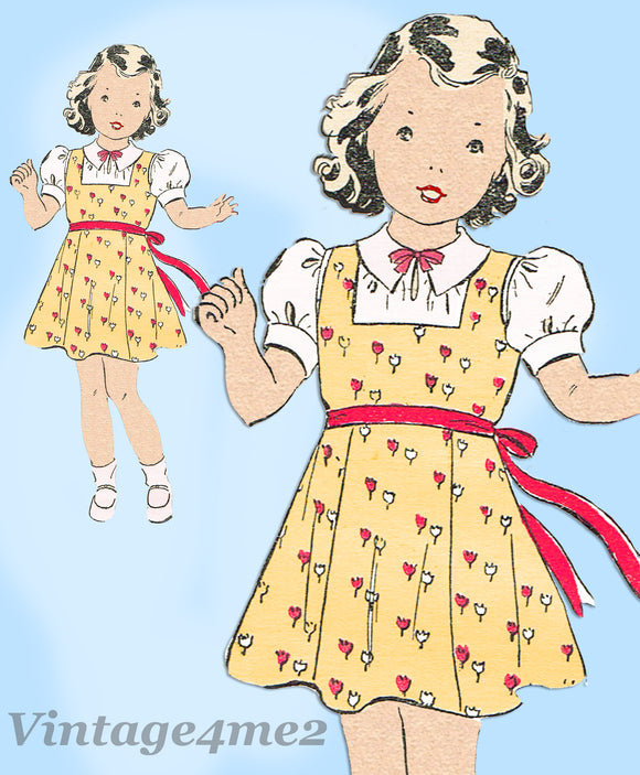 New York 1098: 1930s Uncut Little Girls Jumper Dress Sz 8 Vintage Sewing Pattern