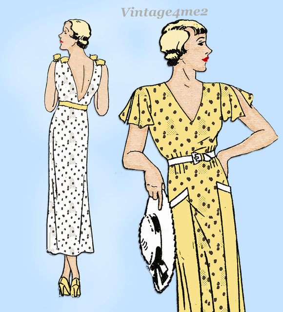 New York 1133: 1930s Uncut Dress w Plunging Back Sz 30 B Vintage Sewing Pattern