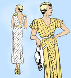 New York 1133: 1930s Uncut Dress w Plunging Back Sz 34 B Vintage Sewing Pattern