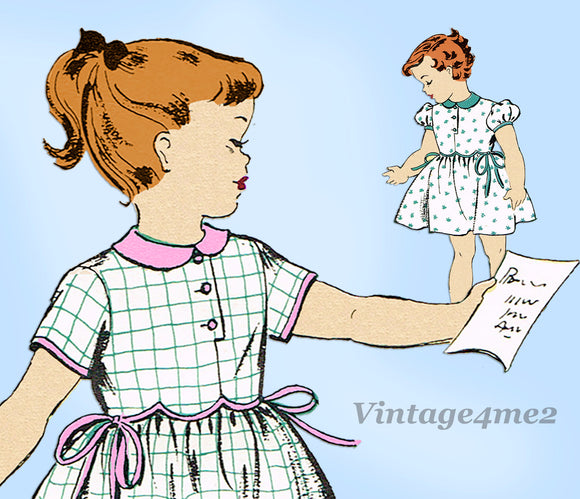 New York 1242: 1950s Toddler Girls Scalloped Dress Sz 2 Vintage Sewing Pattern -Vintage4me2