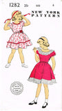 New York 1282: 1940s Toddler Girls Sunday Dress Size 4 Vintage Sewing Pattern - Vintage4me2