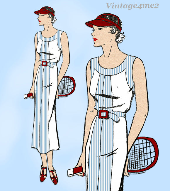 New York 1286: 1930s Uncut Misses Sporty Dress Size 36 B Vintage Sewing Pattern