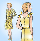 1930s Vintage New York Sewing Pattern 1297 Darling Uncut Girls Sun Dress Size 12