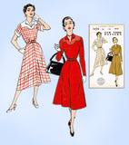 1940s Vintage New York Sewing Pattern 1439 Cute Uncut Misses Day Dress Size 34 B