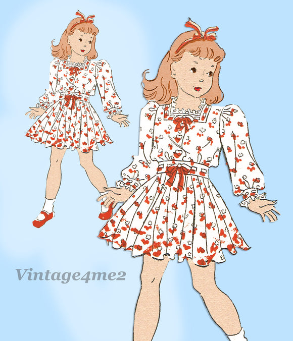 New York 1460: 1930s Teen Girls Sunday Dress Sz 14 Vintage Sewing Pattern