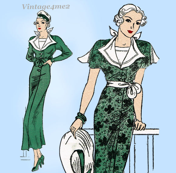 New York 1535: 1930s Uncut Misses Sailor Dress Size 36 B Vintage Sewing Pattern
