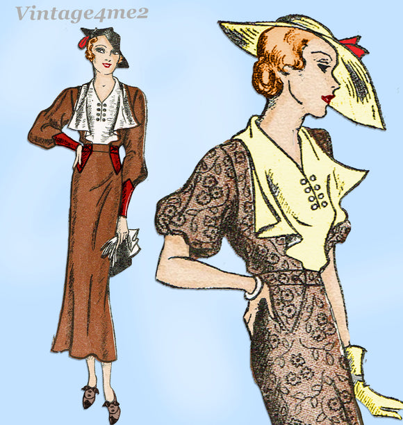 New York 1536: 1930s Uncut Plus Size Street Dress 42 Bust Vintage Sewing Pattern