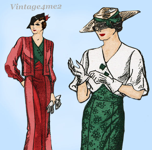 New York 1553: 1930s Uncut Misses Dress & Jacket Sz 46 B Vintage Sewing Pattern