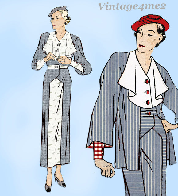 New York 1562: 1930s Uncut Misses Dress and Jacket Sz 42 B Vintage Sewing Pattern