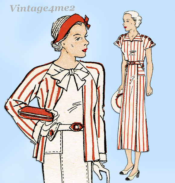 New York 1564: 1930s Uncut Misses Dress and Jacket Sz 40B Vintage Sewing Pattern