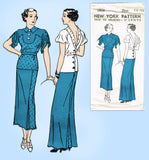 New York 1570: 1930s Uncut Misses Evening Dress Size 32 B Vintage Sewing Pattern