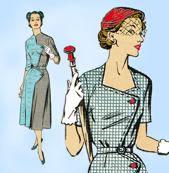 New York 1572: 1950s Misses Street Dress Sz 33 B Vintage Sewing Pattern - Vintage4me2