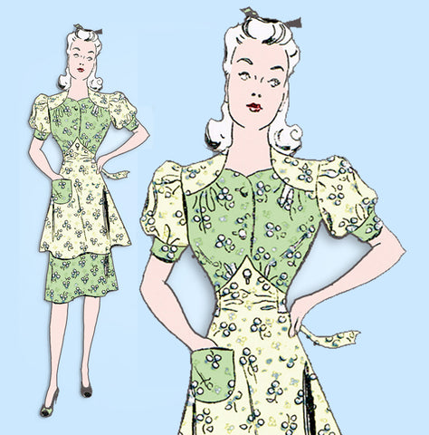 1940s Vintage New York Sewing Pattern 1574 Uncut Misses Dress & Button On Apron Sz 30 Bust