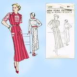 New York 1579: 1930s Uncut Misses Street Dress Size 40 B Vintage Sewing Pattern