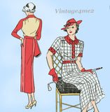 New York 1580: 1930s Uncut Misses Street Dress Size 34 B Vintage Sewing Pattern