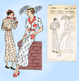 New York 1581: 1930s Uncut Misses Street Dress Size 32 B Vintage Sewing Pattern