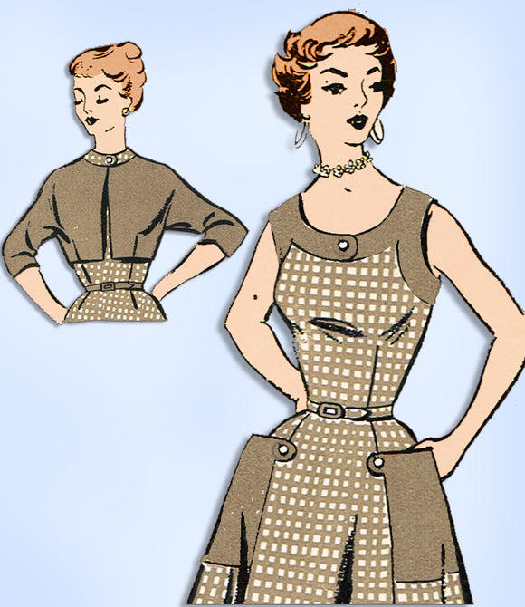 1940s Vintage New York Sewing Pattern 1592 Uncut Misses Sun Dress & Jacket 33 B