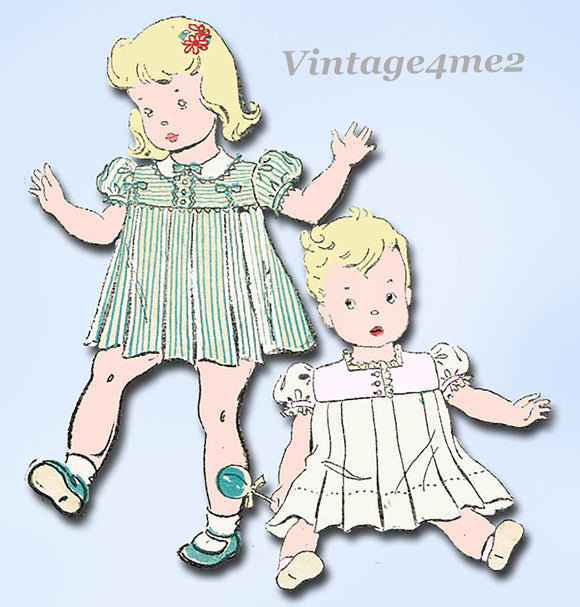 1940s Vintage New York Sewing Pattern 1728 Sweet Baby Girls Dress Size 1