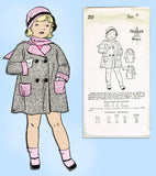 1930s Vintage New York Sewing Pattern 20 Cute Uncut Toddlers Coat Size 4