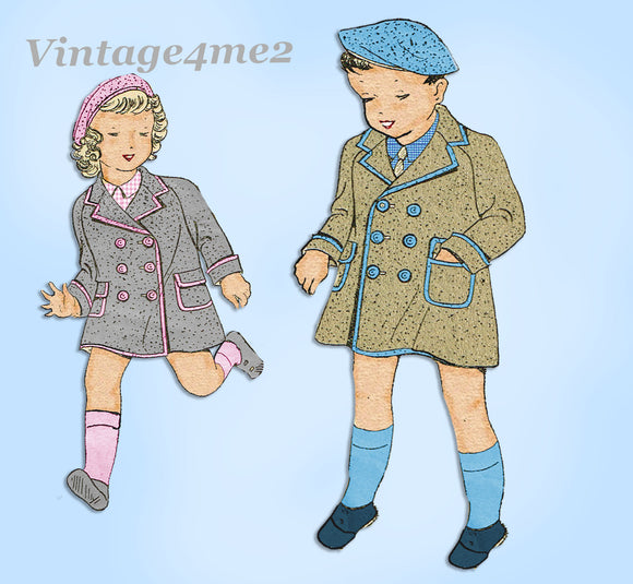 1930s Vintage New York Sewing Pattern 3044 Cute Toddlers Coat & Hat Size 6