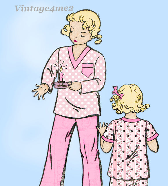 1930s Vintage New York Sewing Pattern 36 Uncut Toddlers 2 Piece Pajamas Size 4