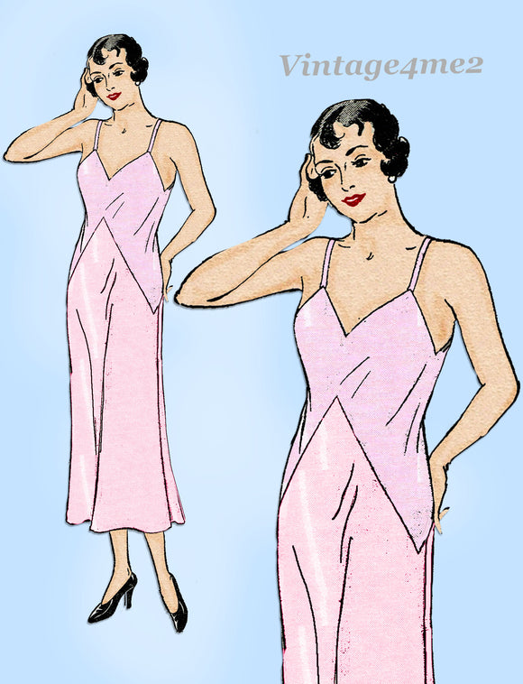 New York 4032: 1930s Rare Uncut Misses Slip Size 36 Bust Vintage Sewing Pattern
