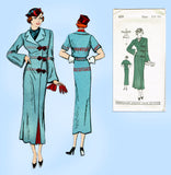New York 409: 1930s Uncut Misses Slender Coat Sz 36 Bust Vintage Sewing Pattern