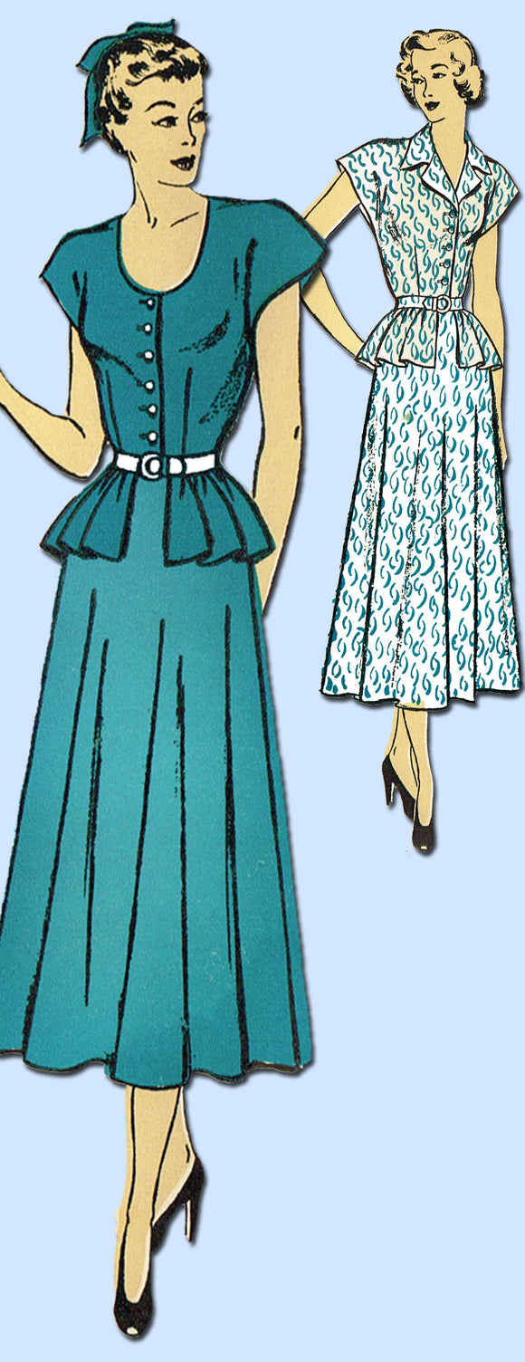 1940s Vintage New York Sewing Pattern 419 Uncut Misses Peplum Dress Size 18 36B