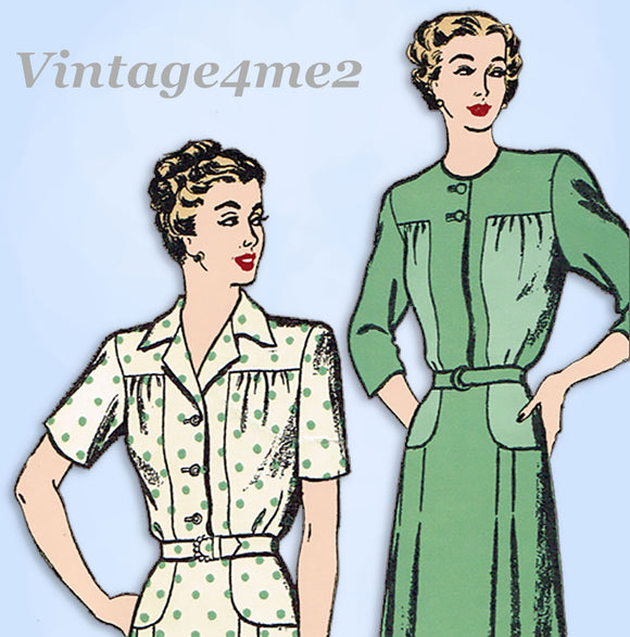 1940s Vintage New York Sewing Pattern 429 Uncut Misses Day Dress 32 Bust